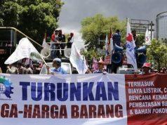 Aksi Konfederasi Serikat Pekerja Indonesia (KSPI) saat May Day 2018 lalu. (dok. KSPI)