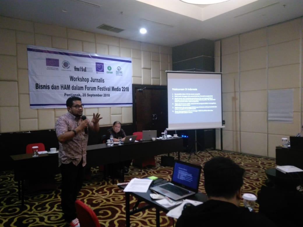 SAgus Sutomo (Lingkar Borneo) dan Hairansyah Akhmad (Wakil Ketua Komnas HAM) memberikan pemaparan tentang pelaksanaan HAM di bidang bisnis.