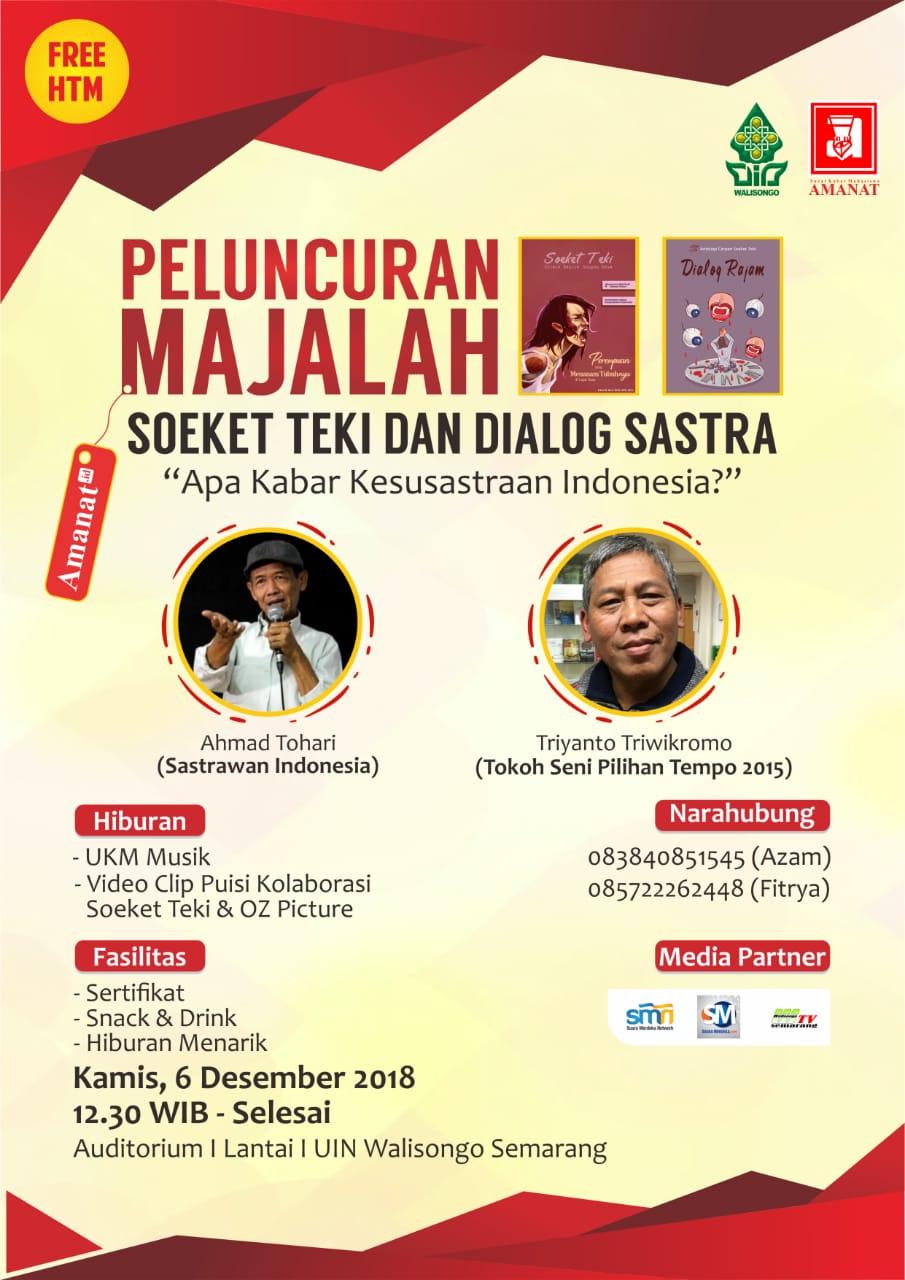 Launching Majalah Soeket Teki, Amanat Hadirkan Sastrawan Ahmad Tohari