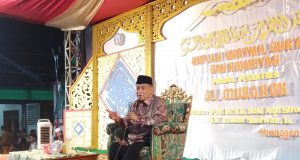 Ketua Umum Pengurus Besar Nahdlatul Ulama (PBNU) Prof Said Aqil Siradj saat menghadiri acara Haflah Khotmil Qur'an dan Rajabiyah Pondok Pesantren Al Mubarok Mranggen Demak, 24 Maret 2019.