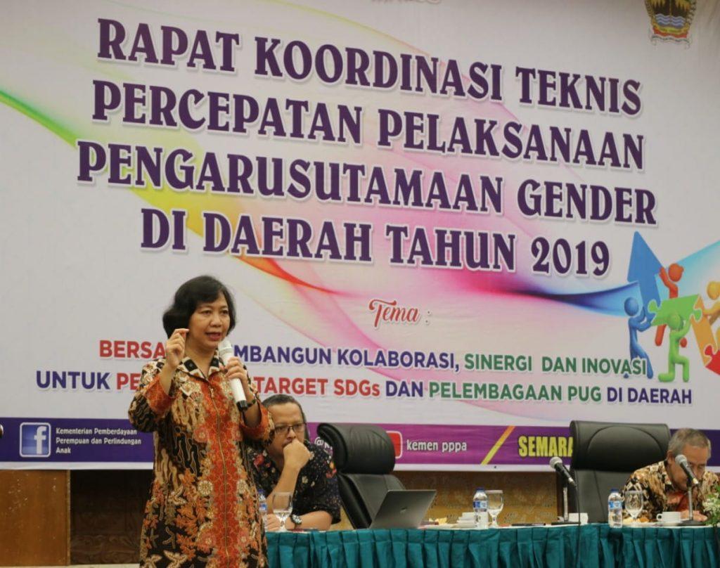 Sekretaris Kemen PPPA, Pribudiarta Nur Sitepu saat Rapat Koordinasi Teknis (Rakortek) Percepatan Pelaksanaan Pengarusutamaan Gender Daerah Tahun 2019 di Kota Semarang, Selasa, 9 April 2019.