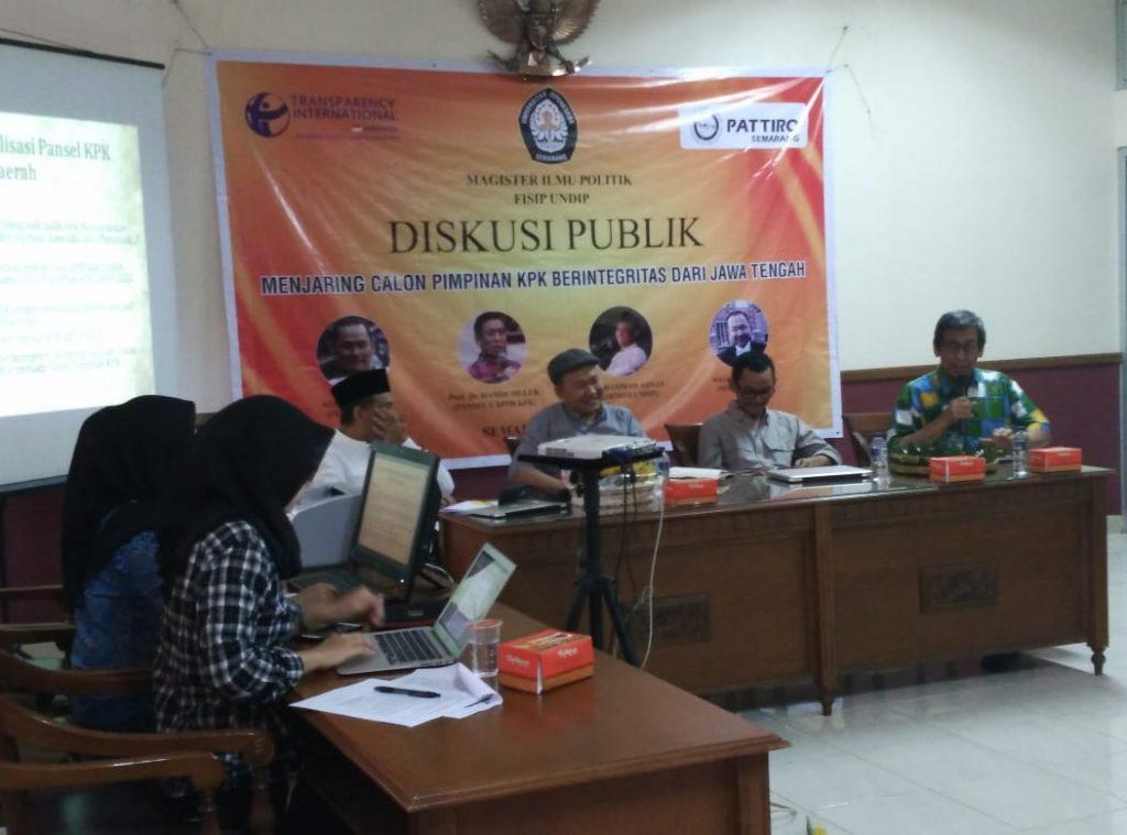 Diskusi publik menjaring calon pimpinan KPK di Undip