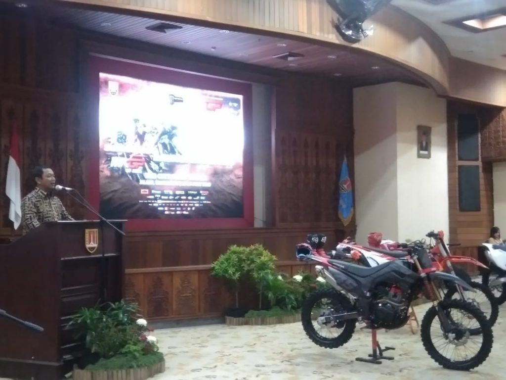 Wali Kota Semarang, Hendrar Prihadi, dalam konferensi pers MXGP of Asia 2019 di Balaikota Semarang, Kamis, 4 Juli 2019.(Ulil/serat.id)
