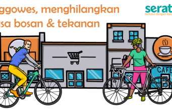 [Ilustrasi] Gowes di Kota Semarang. (Serat.id/A. Arif)