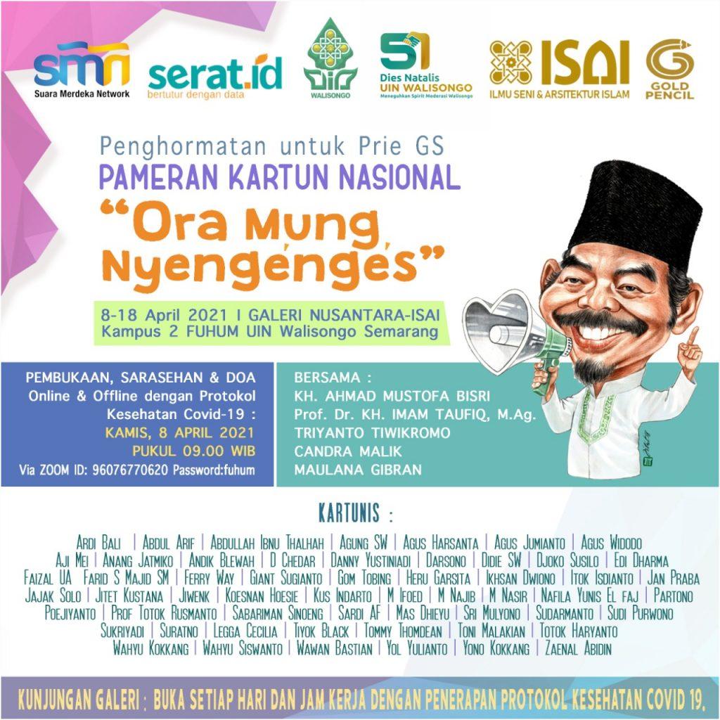"""Pameran Kartun Nasional """"Ora Mung Nyengenges"""" Penghormatan untuk Prie GS, 8-18 April 2021 di Galeri Nusantara-ISAI FUHUM UIN Walisongo Semarang. (dok)"""